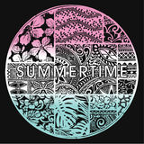 Summertime badge with hawaiian motifs. Vector artwork for woman t shirt royalty free illustration