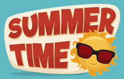 Summertime Banner with Cool Sun Wearing Sunglasses, Vector Illustration. Giant summertime sign with little cool sun wearing sunglasses in cartoon style Stock Photo