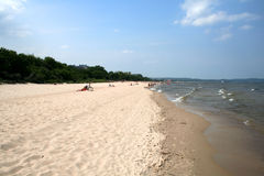Summertime at the beach. Beach at Sopot, Poland on the Baltic sea Royalty Free Stock Images