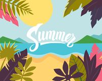 Summertime on the beach. Vector palms and plants Royalty Free Stock Photography