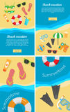 Summertime and Beach Vacation Posters Set. Royalty Free Stock Photo