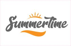 Summertime black hand writing word text typography design logo i. Summertime word hand writing text typography design with black and orange color suitable for stock illustration