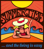 Summertime! Blond relaxed girl sunbathing on a beach  poster. Summertime! Blond relaxed girl sunbathing on a beach with waves and blazing sun,  poster design Royalty Free Stock Photography