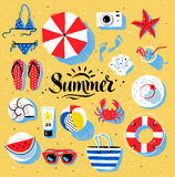 Summertime color illustrations Royalty Free Stock Photos