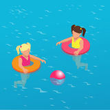 Summertime concept. Funny little girl swims in a pool in an orange life preserver. Flat 3d vector isometric illustration Royalty Free Stock Photo