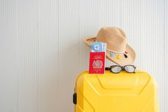 Summertime concept Weekend travel preparation stock photo