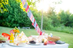 Summertime cookout. Image of Summertime BBQ cookout table Stock Images