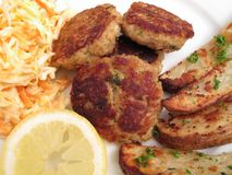Summertime Crab Cake Dinner Stock Photo
