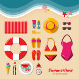 Summertime flat lay infographic. Summer vacation on the beach, travel in style glamor. It can be used in advertising, web design, graphic design for the layout Stock Photos