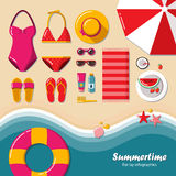 Summertime flat lay infographics. Stock Image