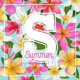 Summertime Floral Poster. Tropical Pink Plumeria Flowers Design for Banner, Flyer, Brochure, Fabric Print. Hello Summer Royalty Free Stock Images