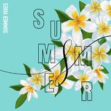 Summertime Floral Poster. Tropical Plumeria Flowers Design for Banner, Flyer, Brochure, Fabric Print. Hello Summer Royalty Free Stock Photography