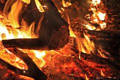 Summertime Fun. Close up photograph of a bonfire Royalty Free Stock Images