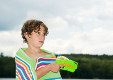 Summertime fun with a water gun Stock Images