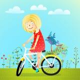 Summertime Girl Bird and Flowers Stock Image