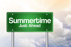 Summertime Green Road Sign Royalty Free Stock Photos