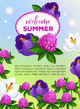 Summertime greeting card of vector summer flowers. Welcome Summer vector greeting card of summertime flowers bouquets. Floral design of blooming iris, viola and Stock Photos