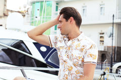 Summertime, Handsome man looking away Stock Photos