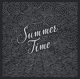 Summertime. Handwritten phrase on an abstract background of sea and sky on chalk board. Black and white doodles Royalty Free Stock Photography