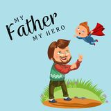 Summertime, Happy joyful child, dad fun throws up son in the air, weekend summer family activity vector illustration. Fathers day card, daddy play with baby Stock Photography