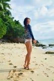 Summertime. Happy Surfer Girl Having Fun, Summer Holidays Travel Stock Image