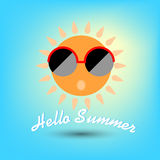 Summertime, hello summer. Funny sun with sunglasses. Royalty Free Stock Photography
