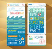 Summertime holiday party boarding pass background  Stock Images