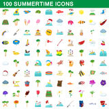100 summertime icons set, cartoon style. 100 summertime icons set in cartoon style for any design vector illustration Royalty Free Stock Photos