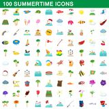 100 summertime icons set, cartoon style. 100 summertime icons set in cartoon style for any design illustration stock illustration