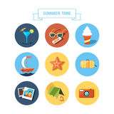 Summertime icons set. Flat design. Stock Photo