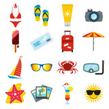 Summertime icons set Stock Photos