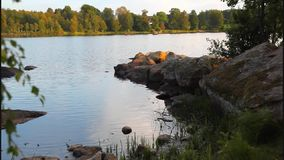 Summertime lake stock video footage