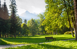 Summertime landscape with view on mount the Gerlachovsky stit Gerlachov Peak or Gerlach from town the Vysoke Tatry Stock Photos