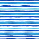 Summertime marine style seamless pattern with watercolor blue horizontal stripes on white background. Summer hand drawn texture. Trendy Blue and turquoise vector illustration