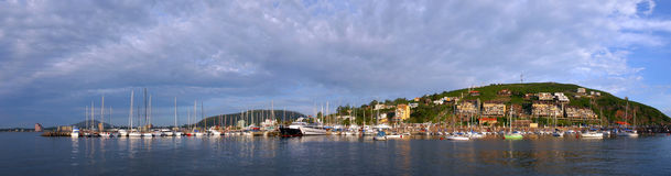 Summertime panoramic coast landscape view Stock Photography