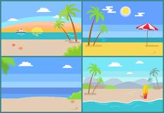 Summertime Paradise Set of Vector Sandy Beaches. Summertime paradise set of vector illustration sandy beaches seaview sunset over mountains, tropical islands vector illustration