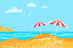 Summertime. Parasols on the beach. Rest. Water beach vacation. Royalty Free Stock Photo
