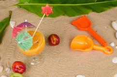 Summertime peach smoothie Stock Photos