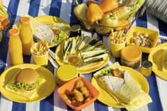 Summertime. A picnic on the beach. Burgers and pitas, vegetables. And fruits. Selective focus Royalty Free Stock Photo