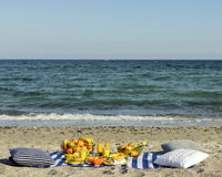 Summertime. A picnic on the beach. Burgers and pitas, vegetables and fruits. Selective focus stock photography