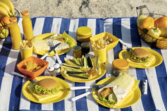 Summertime. A picnic on the beach. Burgers and pitas, vegetables. And fruits. Selective focus Royalty Free Stock Photography