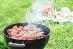 Summertime picnic in the courtyard - Cooking chicken wings on a round grill royalty free stock photo