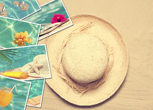 Summertime Postcards. Summer postcards with straw hat on sand background Royalty Free Stock Photo