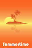 Summertime poster. Illustration of a fropical sunset with palm trees and a word summertime,useful as poster or brochure.EPS file available Stock Photos