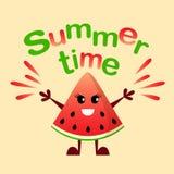 Summertime print. Cartoon watermelon character. Vector summertime print. Cartoon watermelon character Stock Photos