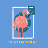 Summertime print with the flamingo. Perfect for a t-shirt print, postcard, label design or for your travel agency. Stock Image
