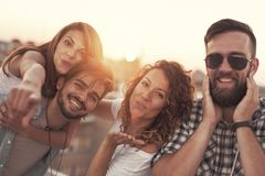 Summertime rooftop party stock images