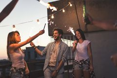 Summertime rooftop party stock image