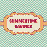 Summertime savings banner. Card template - Badge with vintage style and chevron background Stock Image