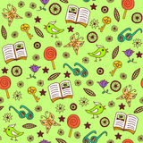 Summertime seamless pattern. Seamless background with glasses, books and others stock illustration